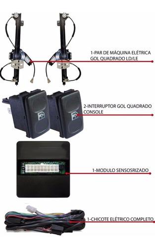 kit vidro elétrico gol quadrado 1990 sensorizado 2 p s/juros