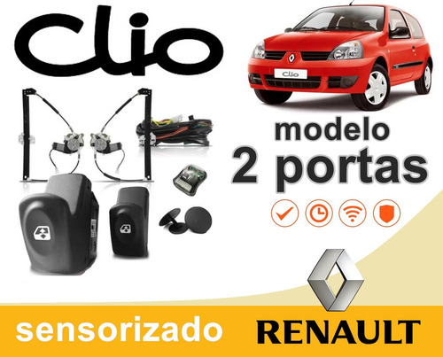 kit vidro elétrico sensorizado clio 2 portas 2012