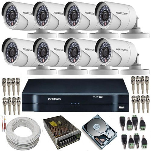 kit vigilância 8 câmeras hikvision full hd 2mp dvr intelbras