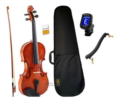 kit violino 1/2 1/4 1/8 arco breu case espaleira afinador