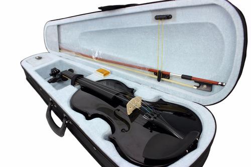 kit violino 4/4  konig preto brilhante completo + estante