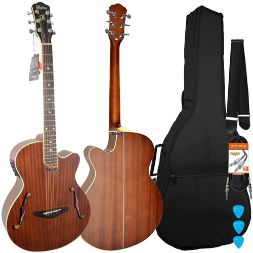 kit violão elétrico aço hmf240 hofma capa acolchoada