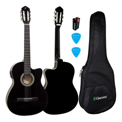 kit violão elétrico flat fino aço sf14 bk capa giannini