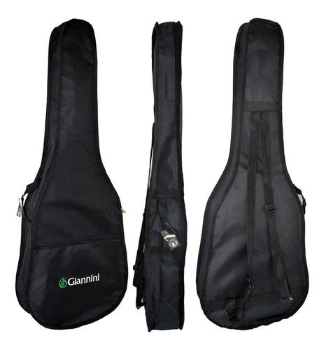 kit violão elétrico flat sf14 bk aço com capa giannini