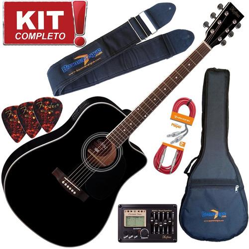 kit violão elétrico folk hofma ye220 bk aço afinador bag