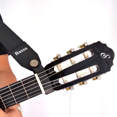 kit violão elétrico giannini flat nf14 preto capa + correia