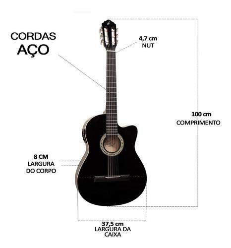 kit violão elétrico giannini flat sf14 bk aço capa bag