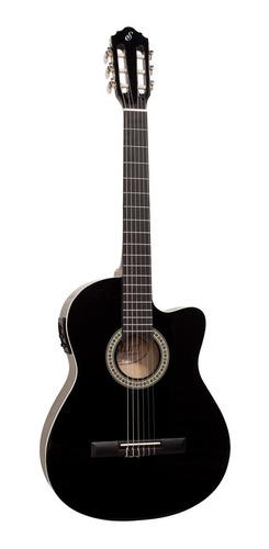 kit violão elétrico nf14 bk nylon giannini com acessórios