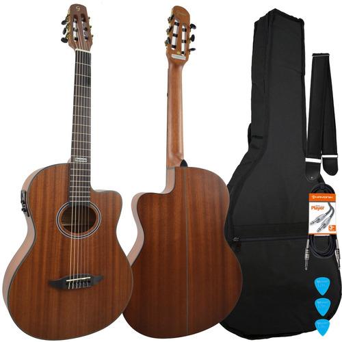 kit violão eletroacústico flat gnf-3 ceq ws walnut giannini
