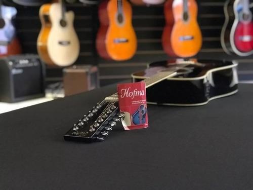 kit violão eletroacústico folk he215e12 bk 12 cordas hofma