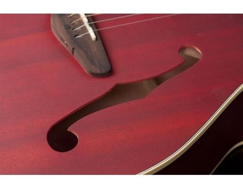 kit violão eletroacústico hmf240 aço satin vermelho hofma