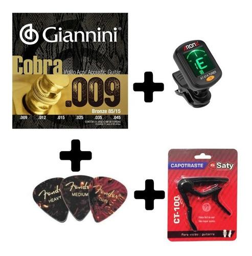 kit violão - encordoamento, capotraste, afinador e palhetas