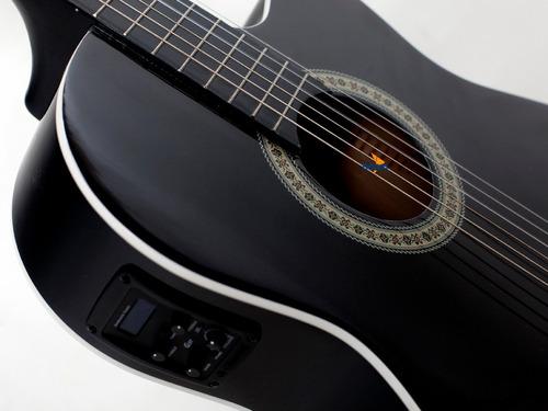 kit violão flat elétrico nf14 bk nylon + bag giannini