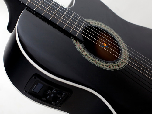 kit violão flat elétrico nf14 bk nylon giannini capa