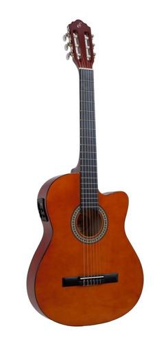 kit violão flat elétrico nf14 natural nylon capa giannini
