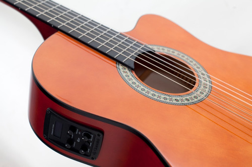 kit violão flat elétrico nf14 natural nylon giannini bag