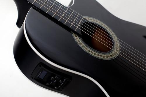 kit violão flat fino elétrico nf14 bk nylon + capa giannini