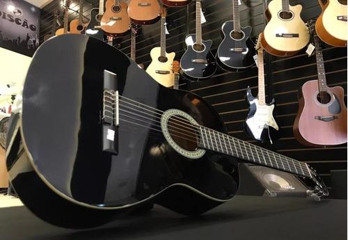 kit violão giannini acústico em aço s14 preto start completo