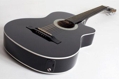kit violão giannini flat elétrico sf14 bk aço completo
