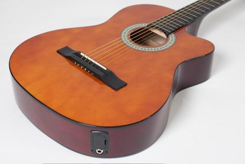 kit violão giannini flat elétrico sf14 natural aço completo