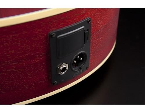 kit violão hofma hmf240 eletroacústico aço satin vermelho