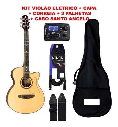 kit violão strinberg aw-50c + capa + cabo + palhetas