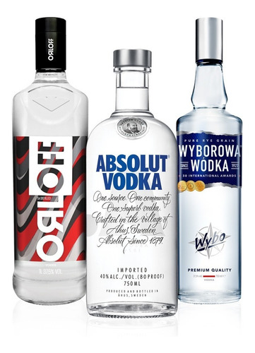 kit vodka absolut  750ml + wyborowa 750ml + orloff 1l