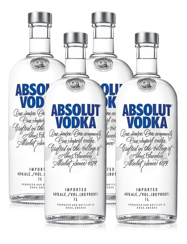 kit vodka absolut original 1l - 4 unidades