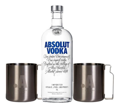 kit vodka absolut regular 1l + 2 canecas absolut alumínio