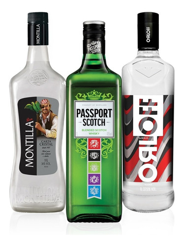 kit vodka orloff 1l + whsiky passport 1l + rum montilla 1l