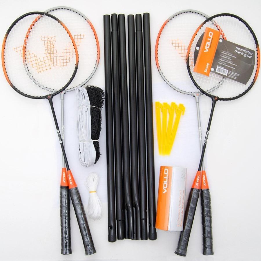 b7f50f605 Kit Vollo Badminton 4 Raquete + 3 Petecas + Rede E Suportes - R  225 ...