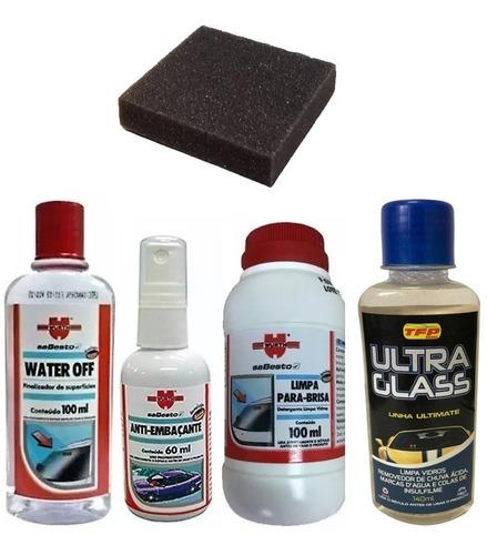 kit water off + vidros wurth + limpa removedor chuva acida
