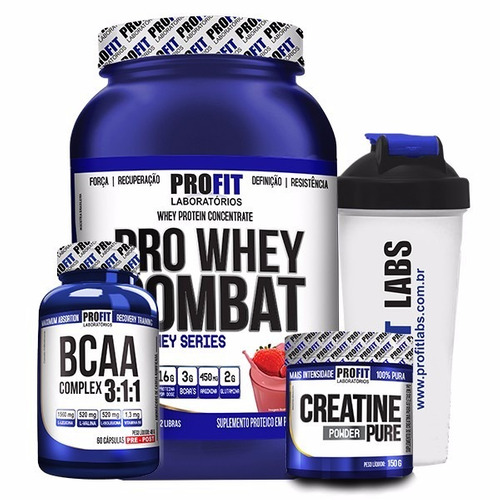 kit way protein concentrado + bcaa + creatina + copo