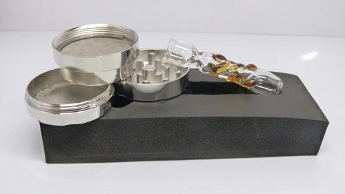 kit weed pipa de vidrio + grinder holo de 3 partes + estuche