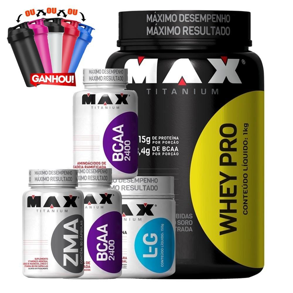 73a90fac0 kit - whey + 2x bcaa + zma + glutamina - max titanium. Carregando zoom.