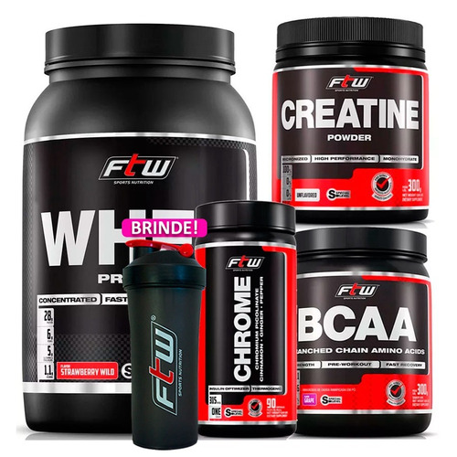 kit whey black moran + creatina + bcaa pó + chrome ftw