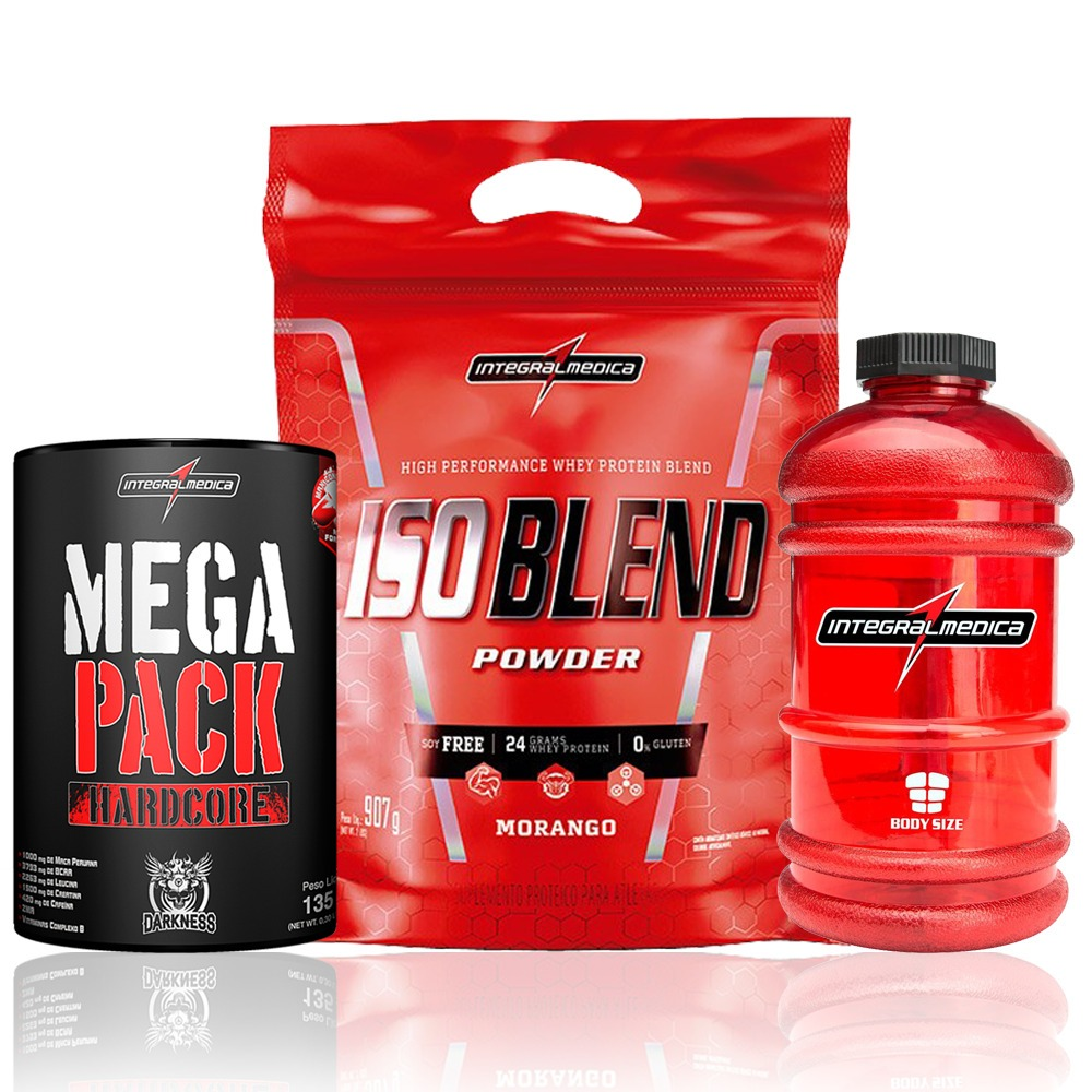 fbc1e7069 kit whey iso blend 907g + mega pack hadcore + galão integral. Carregando  zoom.