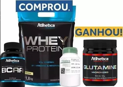 kit whey protein 1,8kg chocolate + dilatex + bcaa+ glutamina