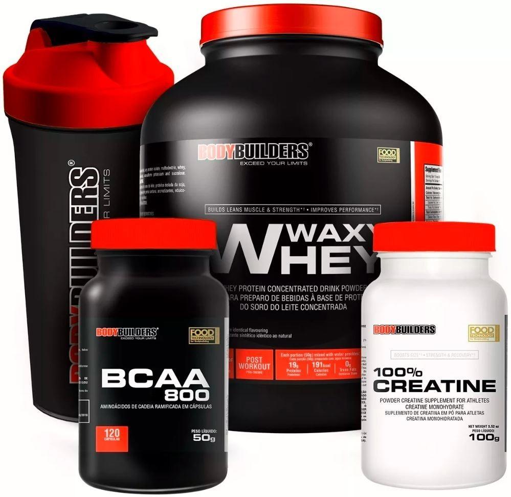 bbaa30c2a kit whey protein 2kg + bcaa + creatina + coqueteleira. Carregando zoom.
