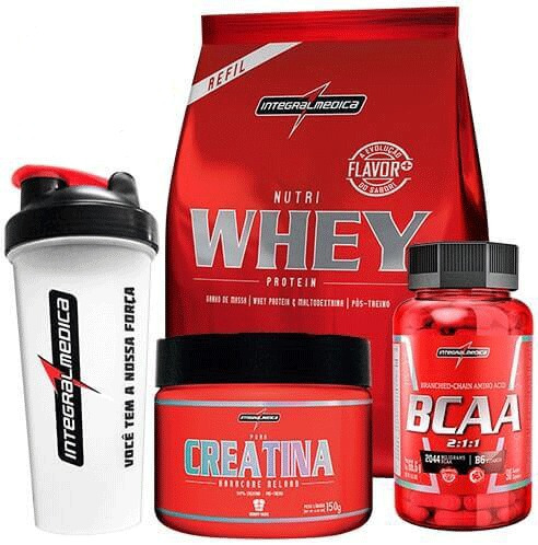 kit whey protein + bcaa + creatina + coquet. integralmédica