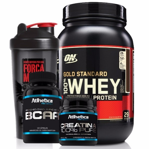 kit whey protein gold optimum on + bcaa + creatina + copo
