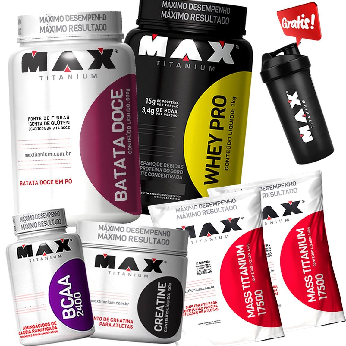 4694edec1 Kit Whey Protein Mass17500 Bcaa Creatina Max Todos Sabores - R  225 ...