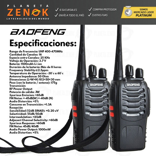 kit x 2 handies baofeng bf-888s uhf vox manos libres 16 c