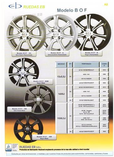 kit x 2 llantas eb bof 15x6,5 4x100 sportcar equipment