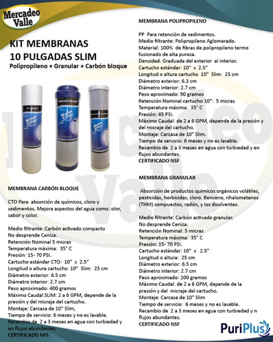 kit x 3 membranas filtro agua pp + bloque +granular 10 pulga