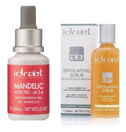 kit x 3 peeling mandelico idraet exfoliante  + mandelic peel +mascara descongestiva acne manchas piell grasa