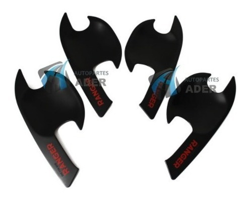 kit x 4 uñeros para manija negro rojo ranger 2012 al 2019