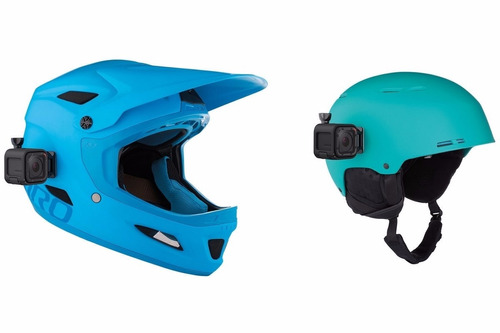 kit x2 base soporte adhesivo curvo y plano casco moto gopro