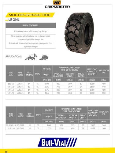 kit x2 cubierta  gripmaster 12-16.5 14pr tl l5 gm1