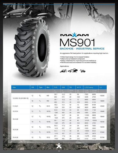 kit x2 cubiertas maxam 12,5/80-18 ms901 12pr